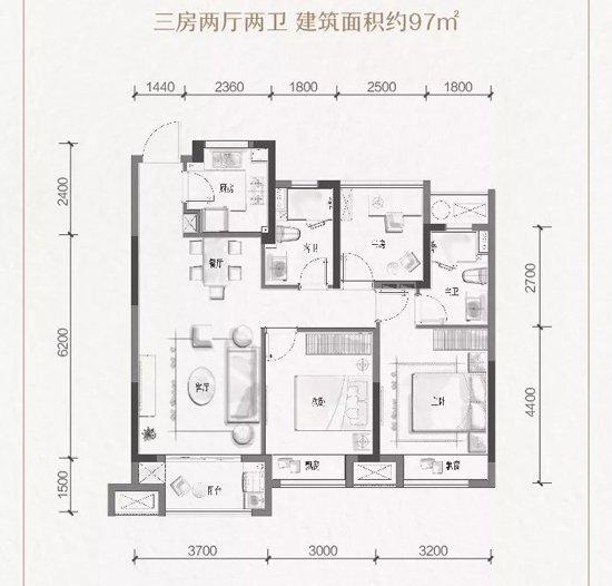 大家·映荷府:89-125㎡电梯洋房 嫡传大家府系精装
