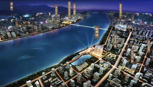 杭州的陆家嘴,地铁1号线、6号线在此交汇.吉利集团、三星电高清图片