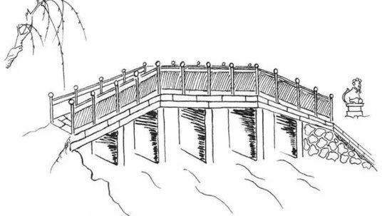 公园手绘立面图桥
