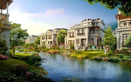 """12,小区绿化覆盖率非常高 安吉金都房产在安吉打造的首座""""法式大宅""""图片"""