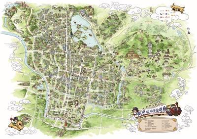 卡通手绘地图,栩栩如生地勾勒出南京400多个旅游景点