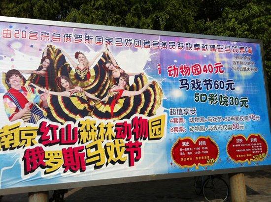 动物园北门的巨大广告牌上,标明了两种套票的价格.