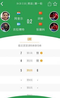 2015世乒赛app:世乒史上首次用app进行比分直播