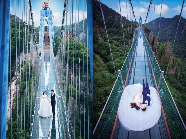 全国首对恋人在天梯玻璃栈道拍摄婚纱 美的让人窒息
