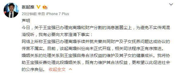 王宝强发声明称离婚案尚未开庭:正有序推进
