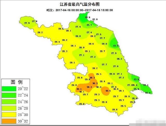 江苏多地最高温首破30℃ 降水来袭部分地区雨量大