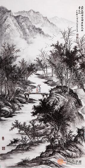 吴大恺四尺竖幅山水画作品《山间老树静含烟》作品来源:【易从网】