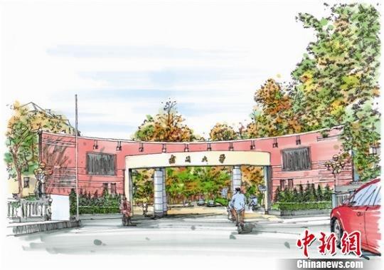 南开学子彩笔手绘校园最美风景