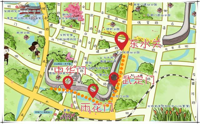南京公园手绘地图
