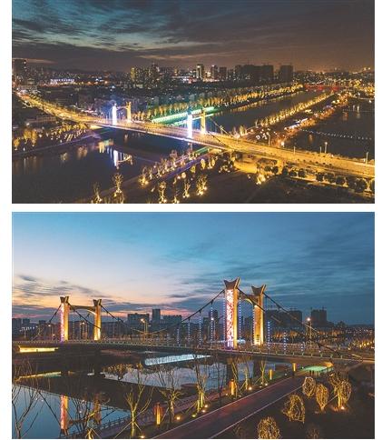 南京秦淮河光影秀 以光为笔点亮夜景