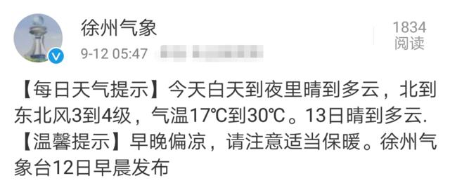 徐州今日早晚温差大 最低气温达17℃