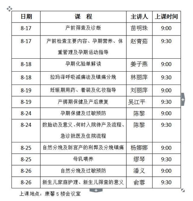 8月江苏省妇幼讲座信息公告