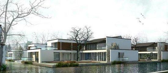 水边别墅手绘图
