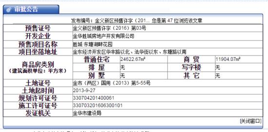 东塘湖畔花园取得金义预售许字(2016)第03号预售证