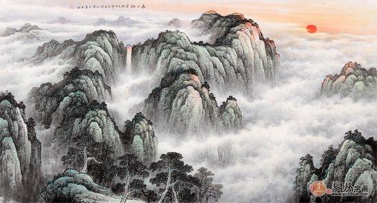 五岳独尊大靠山 王宁六尺山水画作品《泰山旭日》图片
