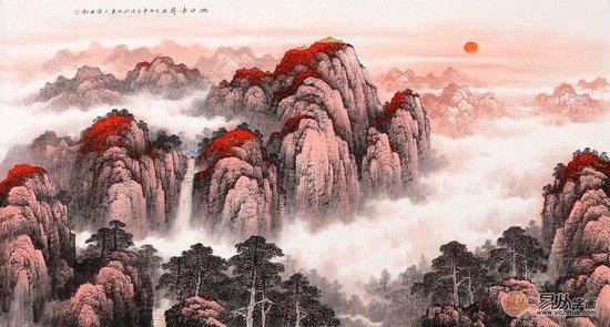 风水画靠山图 王宁最新国画泰山作品《旭日东升》图片