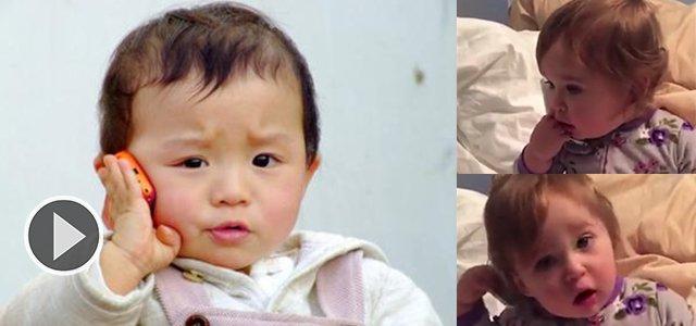 美1岁半宝宝模仿CEO妈妈打电话 神态动作神同步