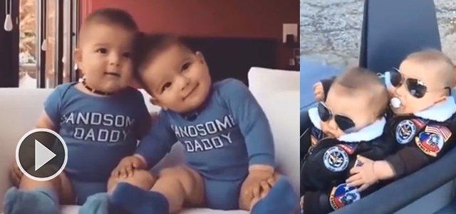 """哈哈哈哈双胞胎宝宝你笑我也笑~ """""""