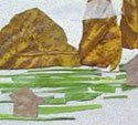用树叶拼出山水中国