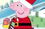 粉红猪圣诞骑车