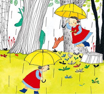 雨中撑伞手绘画
