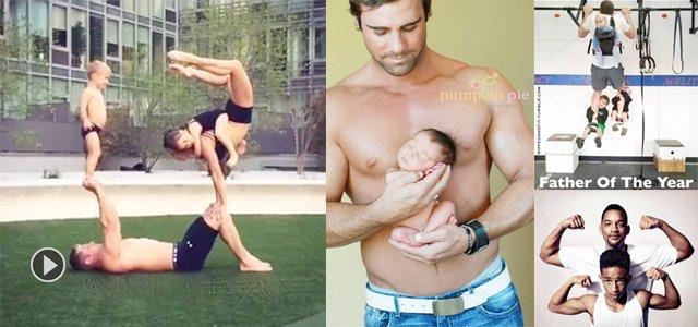 健身老爸带孩子方式真是与众不同!