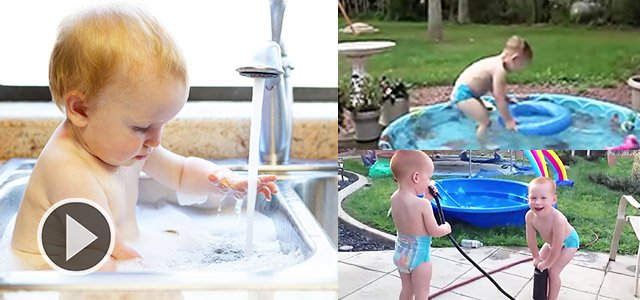 熊孩子玩水真是不要命的节奏啊!