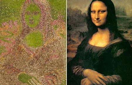 英艺术家用树叶吹出巨幅《蒙娜丽莎》_儿童_腾讯图片