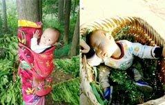 组图:1岁女童竟被绑树上 背后原因让人动容
