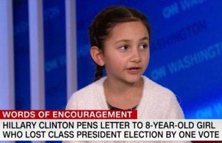 8岁女生选班长失利当副班长 希拉里鼓励:别放弃