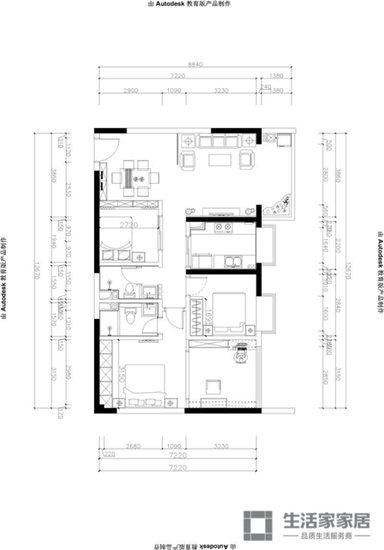 几何图案的木头做吊顶,餐厅和客厅做一体化设计,显得宽敞,自由而舒适.