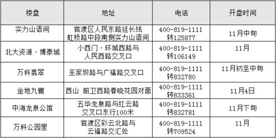房企年底冲刺博市 11月昆明6楼盘出货抢收业绩