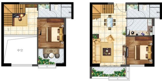 户型二:三室两厅两卫双阳台(跃层)