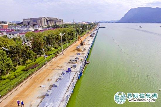 海埂大坝提升工程9月底完成 亲水平台初具雏形