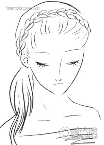 短发新娘发型手绘图片