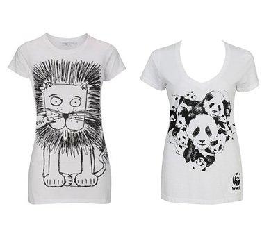 亮点:卡通狮子和熊猫图案t恤