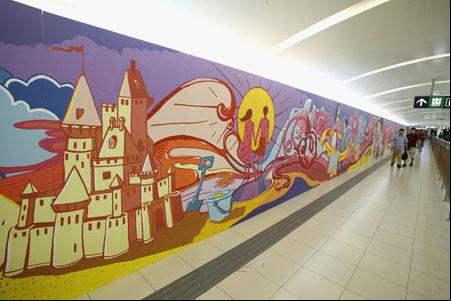 手绘墙刷新北京地铁--墙绘_手绘墙_墙体彩绘-山东济南