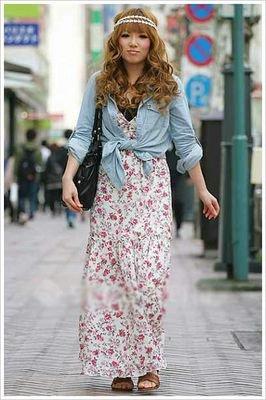 东京街拍  超长个性连衣裙