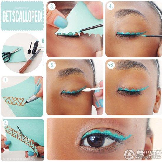 荧光蓝齿轮眼线DIY!跟潮五款创意眼线