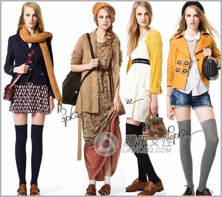 风的小皮鞋搭配各个款式的长裙长袜都是不错的伴侣