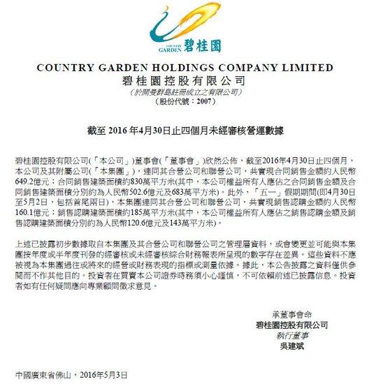 碧桂园前4月销售649亿 五一期间认购160亿