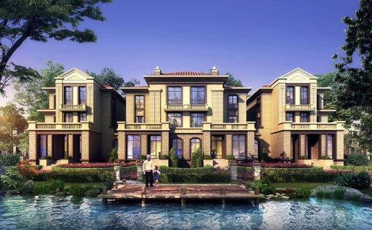简欧风格外立面大气别墅,140至250平米的地上三层,地下一层的时尚.别墅群的珠海图片