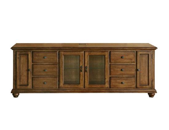 产品特色:桦木材质的一款电视柜,做旧感觉的木色,带有美式乡村风格.