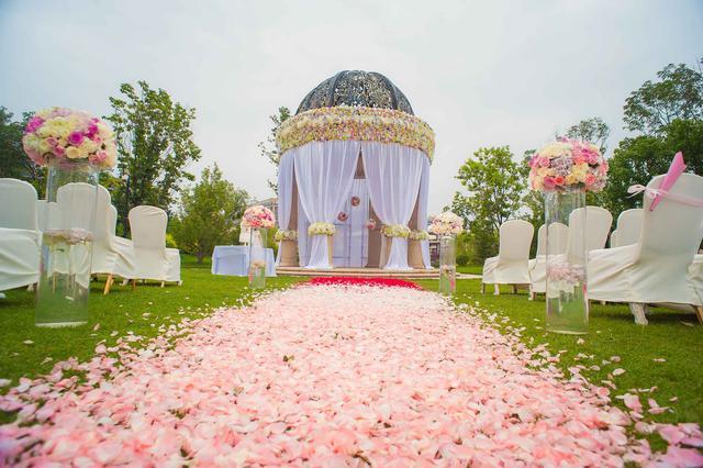 清新自然,独具特色的婚礼现场,草坪婚礼的基本格调应该以西式风格为主图片