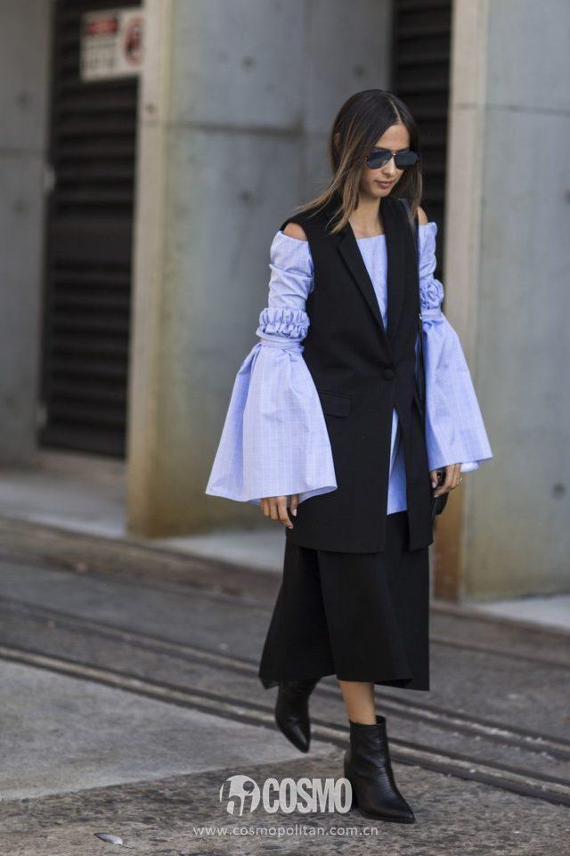 sleeveless-vest-oversized-sleeves-bell-sleeves-ankle-boots-black-and-blue-sky-blue-midi-skirt-spring-work-outfit-australia-fashion-week-ref-640x961