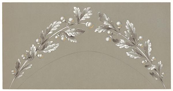 chaumet珍藏手绘稿   月桂树树枝造型珠宝(钻冕的局部)   1900年
