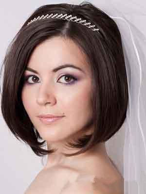 齐肩短发新娘发型