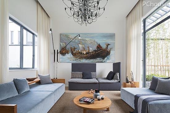 木色,雅蓝,爵士白,三色的搭配使空间显得极为雅致,让人记忆尤甚.图片