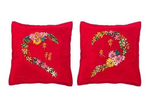 爱心情侣十字绣抱枕