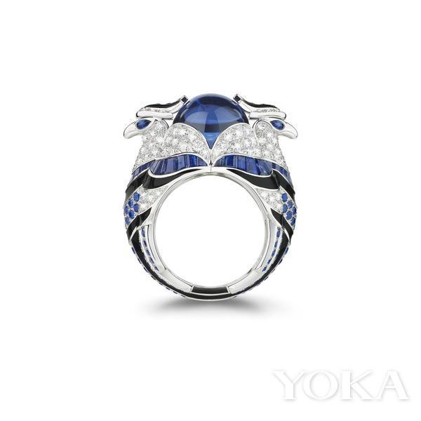 boucheron动物系列chinah雄鹰镶坦桑石,蓝宝石,钻石戒指